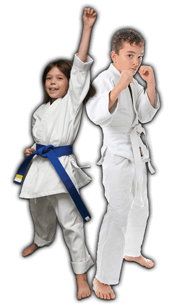 Martial Arts Lessons for Kids in Broomfield CO - Happy Blue Belt Girl and Focused Boy Banner